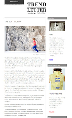 The Soft World featured in the newsletter of famous trendwatcher Lidewij Edelkoort
