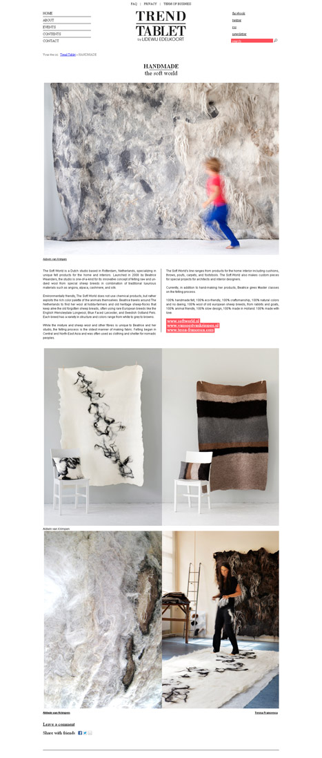 The Soft World featured at Trendtablet, blog from famous trendwatcher Lidewij Edelkoort